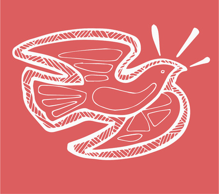 holy symbol: Dibujado a mano ilustraci�n vectorial o el dibujo de un p�jaro paloma que representa el s�mbolo Esp�ritu Santo en la fe cat�lica cristiana Vectores