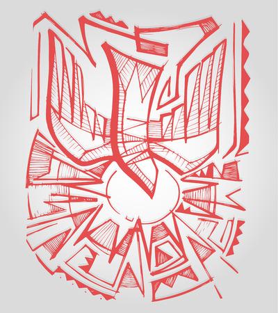 手描きのベクトル図またはキリスト教カトリック信仰で聖霊のシンボルを表す鳩鳥の図面