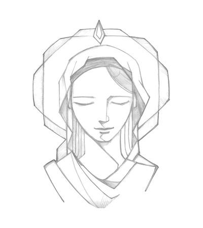 오순절 Biblic 통로에서 손으로 그린 벡터 일러스트 레이 션 또는 성모 마리아의 그림