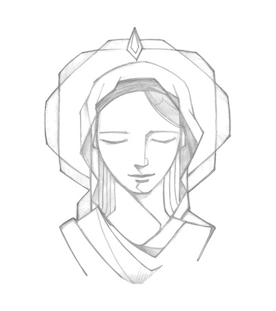 Hand drawn vector illustration or drawing of Virgin Mary at Pentecost Biblic passage Çizim