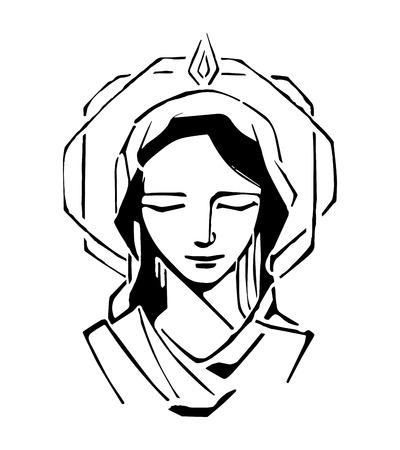 Hand getrokken vector illustratie of het trekken van de Maagd Maria met Pinksteren van bijbelse passage