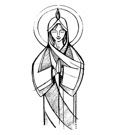 mary: Hand drawn vector illustration or drawing of Virgin Mary at Pentecost Biblic passage Illustration