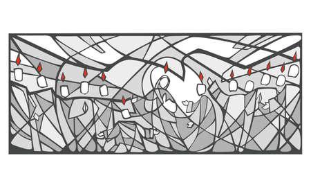 espiritu santo: Dibujado a mano ilustraci�n vectorial o dibujo de paso Pentecost�s biblic Vectores