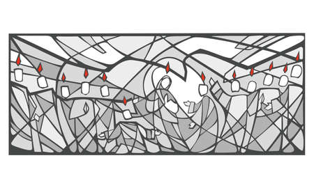 pentecost: Hand drawn vector illustration or drawing of Pentecost biblic passage