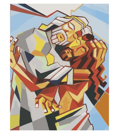 Vector afbeelding of tekening van de Heilige Drievuldigheid Vader de Zoon en de Heilige Geest in een kubistische stijl