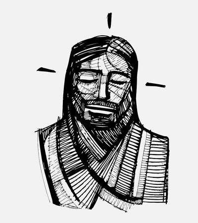jesus face: Hand drawn vector illustration or drawing of Jesus Christ Serene Face Illustration