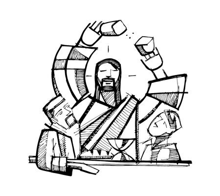 Hand drawn vector illustration or drawing of Jesus Christ Sharing Eucharist Bread with two of his disciples