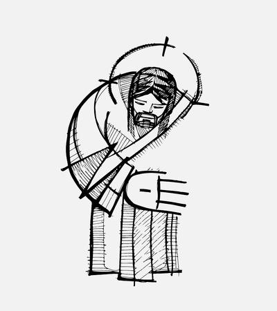 Hand drawn vector illustration or drawing of Jesus Christ giving a hug