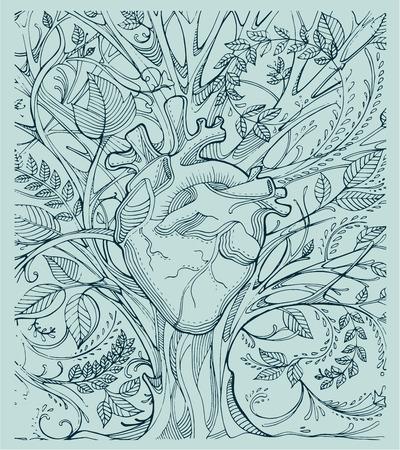 Hand getrokken illustratie of tekening van een menselijk hart en een boom met veel takken en bladeren Stockfoto - 40600570