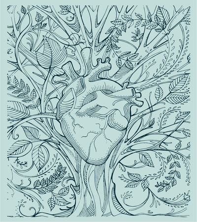 Hand drawn illustration or drawing of a human heart and a tree with a lot of branches and leafs Illustration