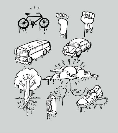 Hand drawn vector illustrations or drawings of some urban melting things
