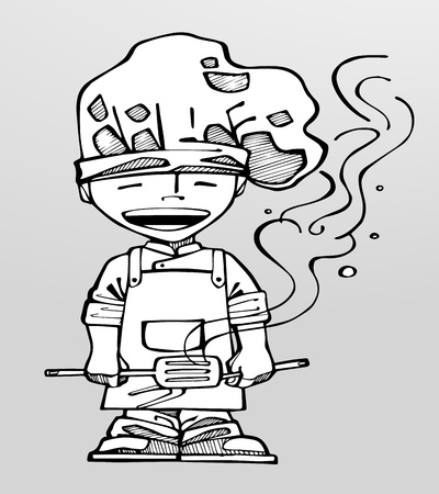 whites: Vector illustration or drawing of a cartoon chef Illustration