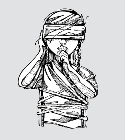 Hand drawn vector illustration or drawing of a woman tied with a blindfold on her eyes Representing the social problem of violence against women 일러스트