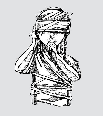 여성에 대한 폭력의 사회적 문제를 대표하는 그녀의 눈에 눈가리개 묶여있는 여자의 손으로 그린 벡터 일러스트 레이 션 또는 도면 일러스트