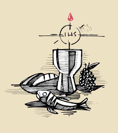 eucharistie: Hand drawn illustration ou un dessin d'un breadfish tasse de raisins et Représentant Samcrament de l'Eucharistie catholique