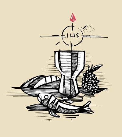 Hand getrokken vector illustratie of tekening van een kopje breadfish en druiven Vertegenwoordigen Samcrament katholieke eucharistie