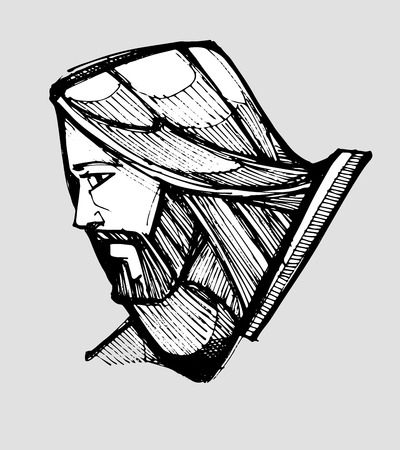 jesus hands: Hand drawn vector illustration or drawing of Jesus Christ facing side