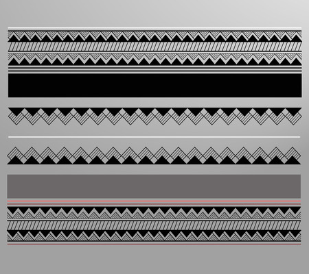 designates: Vector illustration or drawing of a geometric lined maori pattern