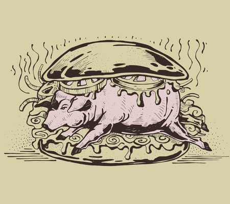 Hand drawn vector illustration or drawing of a pork sandwich