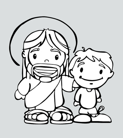 jesus: Hand drawn vector illustration or drawing of a cartoon of Jesus Christ smiling and a boy
