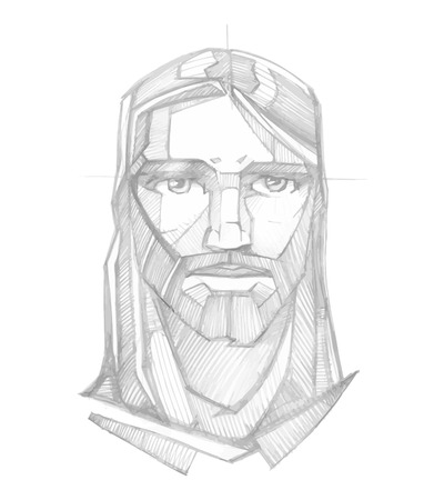 Hand drawn pencil sketch vector illustration or drawing of Jesus Christ Face with a Serene expression