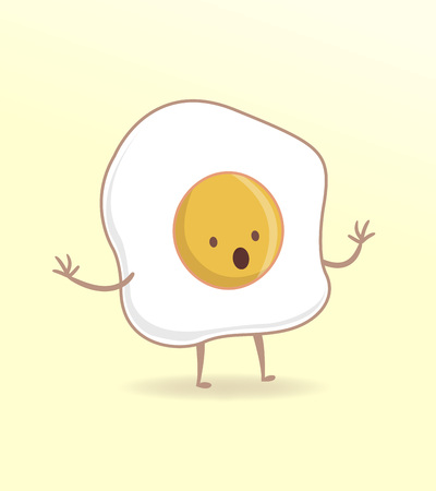 fried: Vector illustration or drawing of a cartoon fried egg with a surprised expression