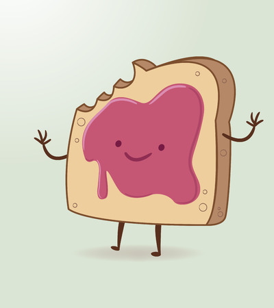 Vector illustration or drawing of a cartoon toasted bread with mermelade Illustration