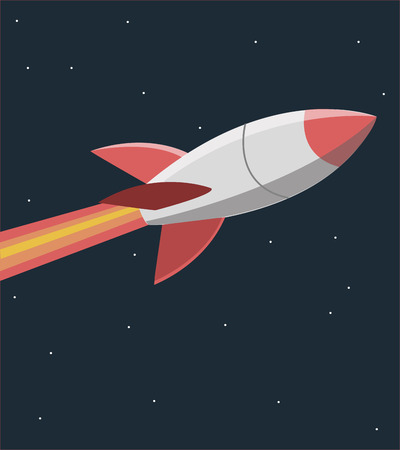 Vector illustration or drawing of a retro missile flying in a blue dark sky