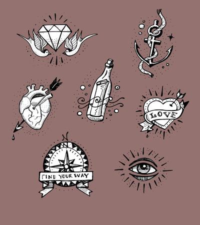 手描きのベクトル図またはいくつかのオールドスクールのタトゥー デザインの図面