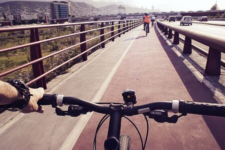 Photograph of some cyclists on a urban bicycle track Stock fotó - 41797946
