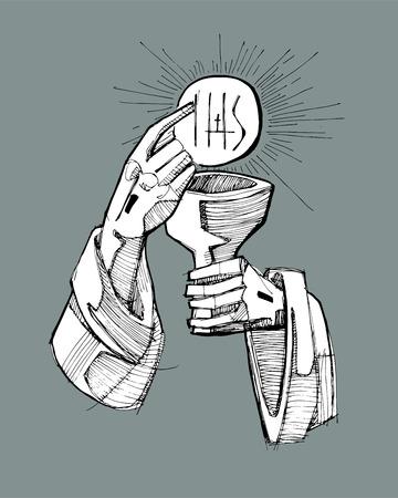 eucharistie: Tiré par la main illustration vectorielle ou un dessin de Jésus-Christ la main avec une tasse et un hôte, représentant l'Eucharistie Sacrement Illustration