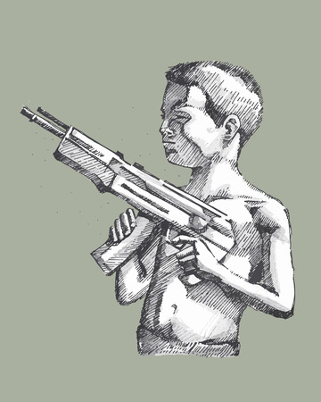 Hand drawn vector illustration or drawing of sketched boy with a rifle Stok Fotoğraf - 43088514