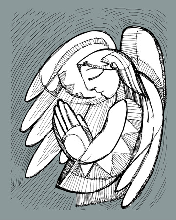 Hand drawn vector illustration or drawing of a praying Guardian Angel Vectores