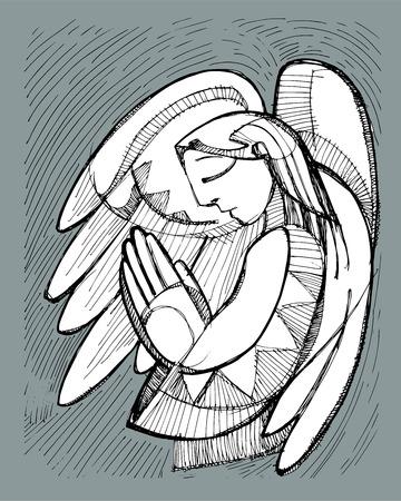 angel de la guarda: Dibujado a mano ilustración vectorial o el dibujo de un ángel de la guarda de orar