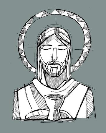 Dibujado a mano ilustración vectorial o dibujo de Jesucristo y una taza y pan, que representa la Eucaristía Sacramento