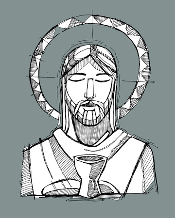 Hand drawn vector illustration or drawing of Jesus Christ and a cup and breads, representing the Eucharist Sacrament Vectores