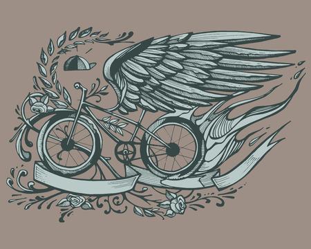 bicicleta: Dibujado a mano ilustración vectorial o el dibujo de una bicicleta con alas de águila, rosas y una corona de flores