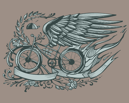 Hand drawn vector illustration or drawing of a bicycle with eagle wings, roses and a wreath Ilustracja