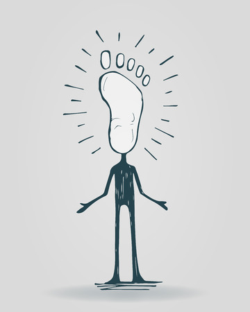 Hand drawn vector illustration or drawing of a cartoon man with a foot instead of head, representing a pedestrian Ilustração