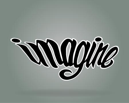 Hand getrokken vector illustratie of tekening van de hand geschreven woord: Imagine