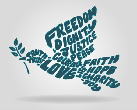 Hand drawn vector illustration or drawing of a Peace Dove silhouette with different positive words or concepts Vettoriali