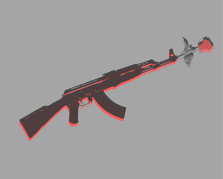 Hand drawn vector illustration or drawing of an automatic gun rifle and a rose flower Иллюстрация