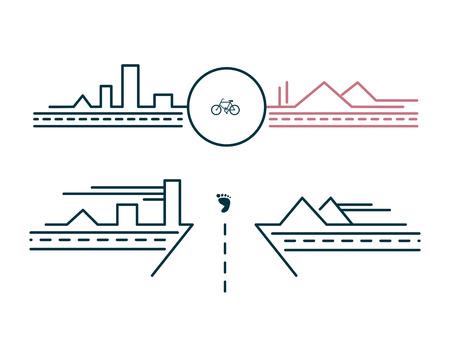 ベクトル図や都市のいくつかの抽象的な描画が並ぶデザイン  イラスト・ベクター素材