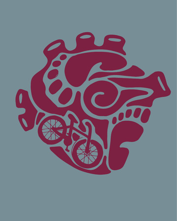 Hand drawn vector illustration or drawing of a human heart with the shape of some urban items