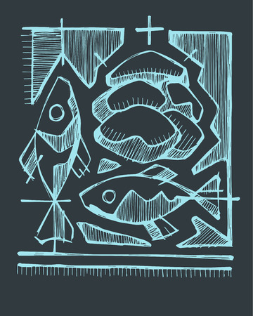 sacrament: Hand drawn vector illustration or drawing of 2 fishes and 5 breads, representing Catholic Sacrament of Eucharist Illustration