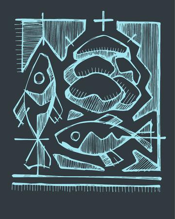 Hand getrokken vectorillustratie of tekening van 2 vissen en 5 broden, die katholiek sacrament van eucharistie vertegenwoordigen