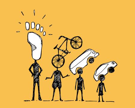 Disegnato illustrazione vettoriale a mano o disegno di alcune persone con i simboli di mobilità urbana Vettoriali