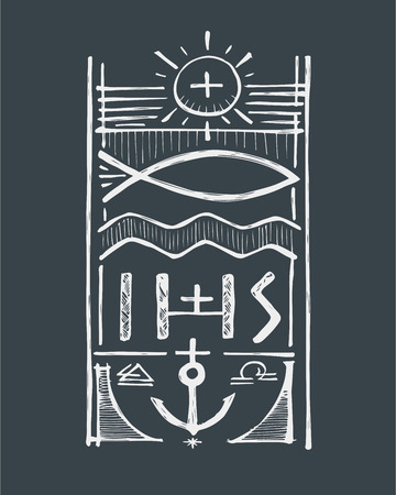 fisher: Hand drawn vector illustration or drawing of a badge representing Jesus Christ Fisher of Men