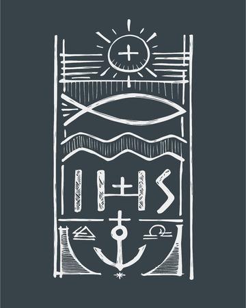 Hand getrokken vector illustratie of het trekken van een badge die Jezus Christus Fisher of Men Stockfoto - 43542378