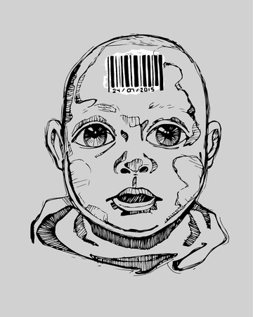 hand on forehead: Hand drawn vector illustration or drawing of a human baby with a bar code on his forehead Illustration